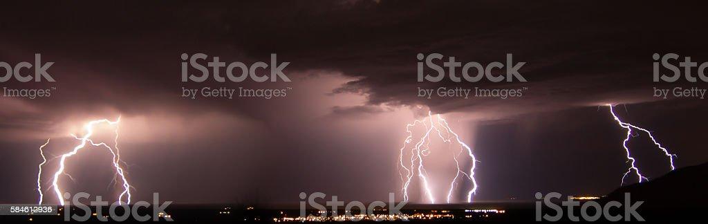 Lightning Storm over White Sands Missile Range stock photo