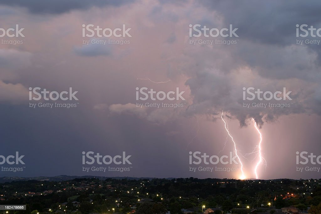 A lightning strike caught in the horizon royalty-free stock photo