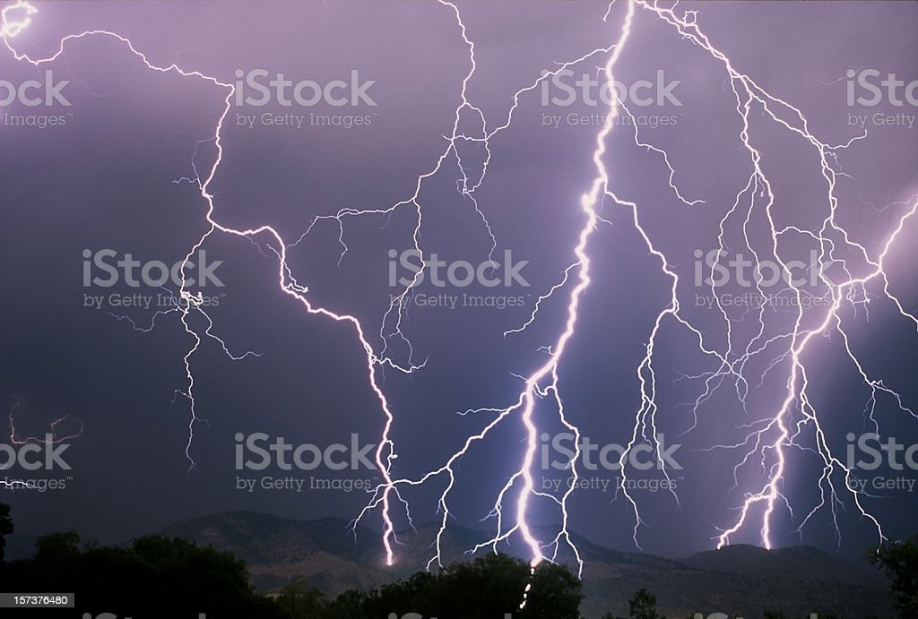 Lightning strike, Colorado stock photo