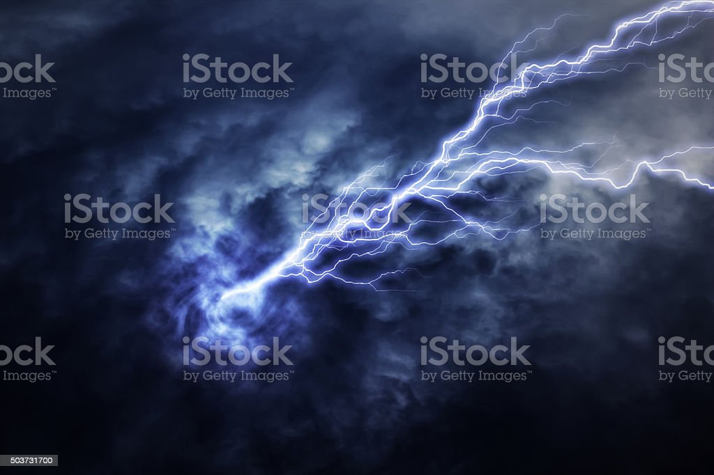 lightning strike during an electrical storm stock photo