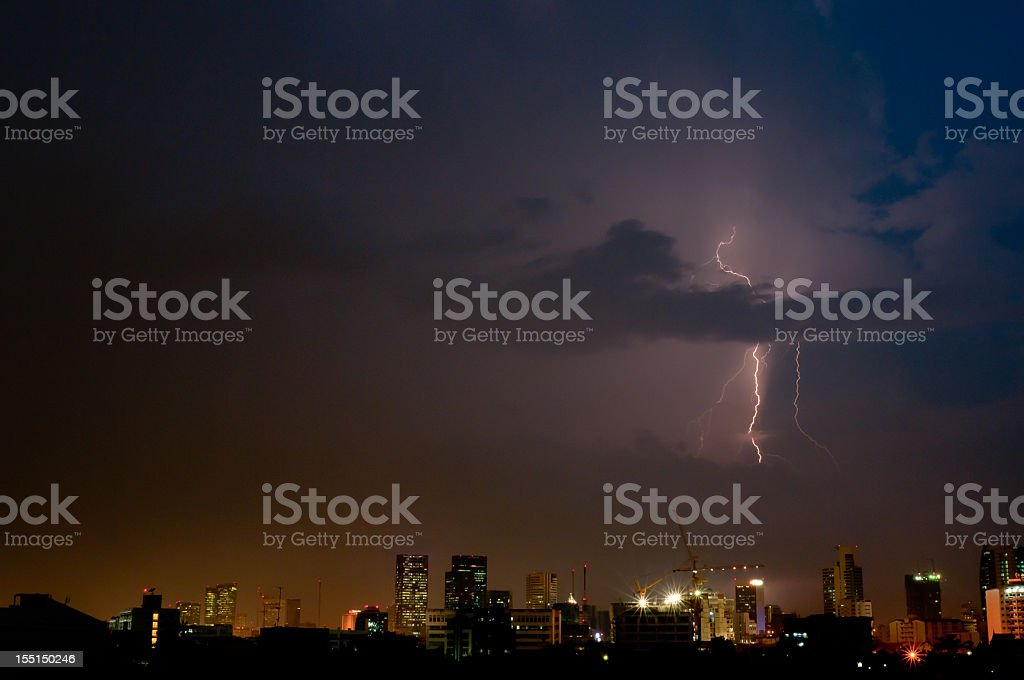 Lightning Strike In The City royalty-free stock photo