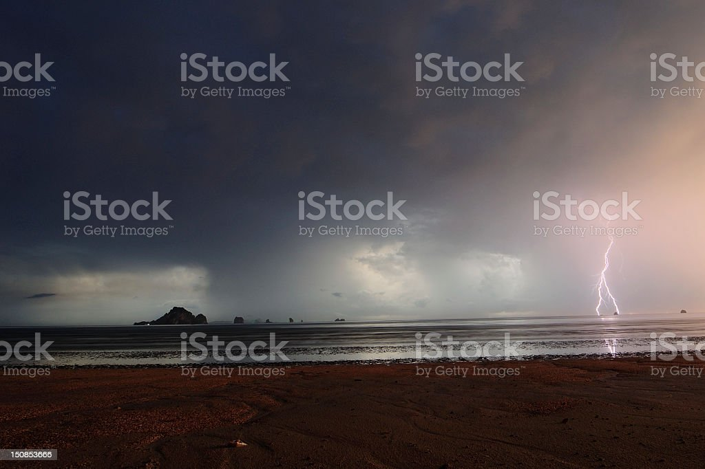 lightning strike over Andaman Sea royalty-free stock photo