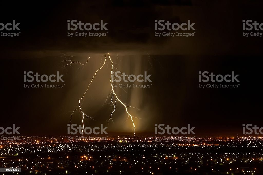 Lightning Strike over Suburbs royalty-free stock photo