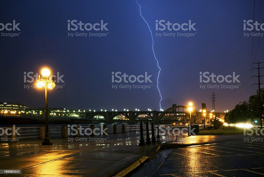 Lightning strike over the Mississippi river, downtown, Saint Paul, Minnesota royalty-free stock photo