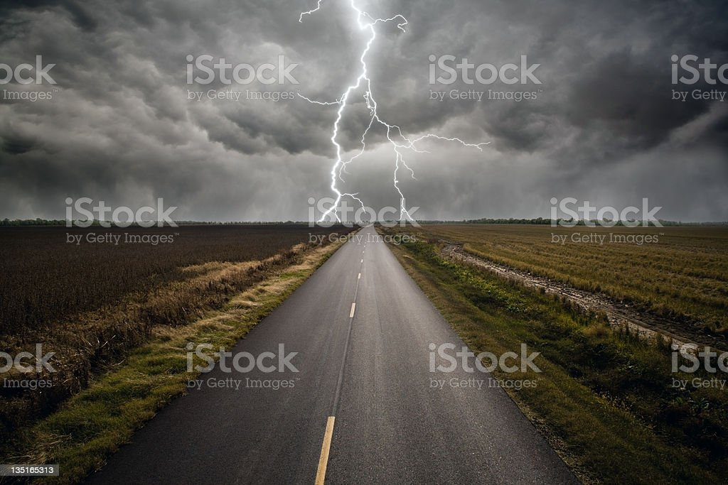 Lightning Strike Road stock photo