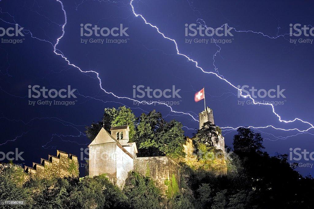 Lightning Strikes Baden Switzerland stock photo