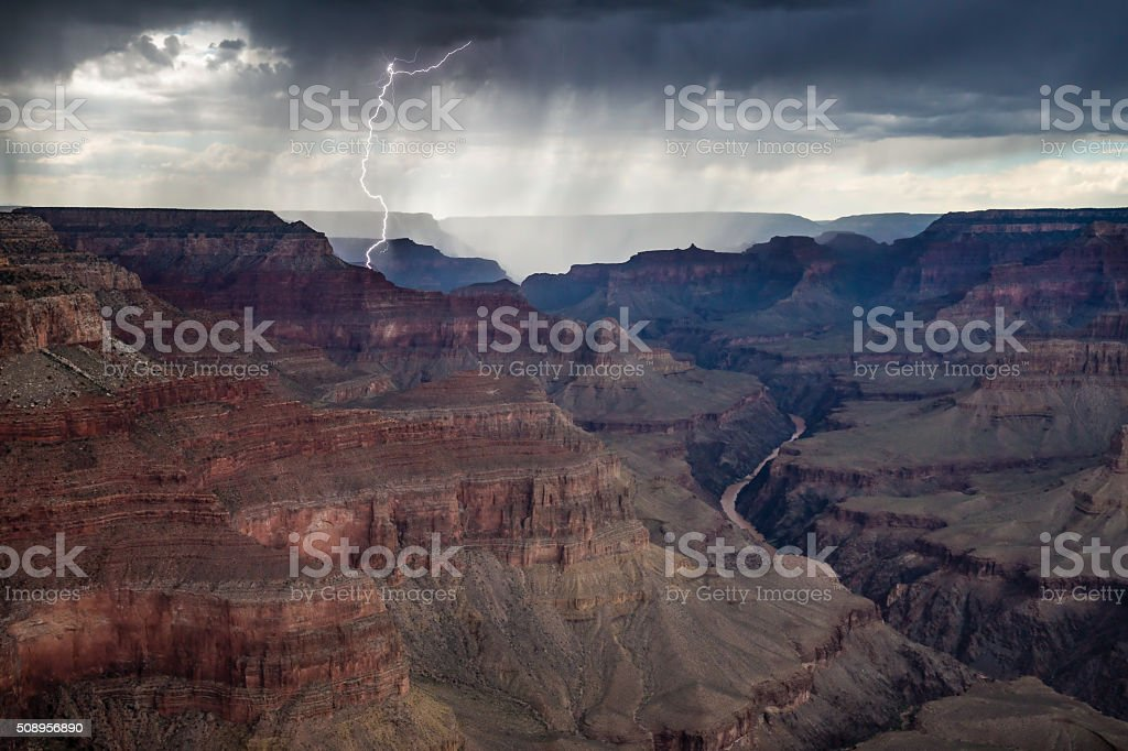 Lightning strikes in Grand Canyon National Park Arizona US stock photo