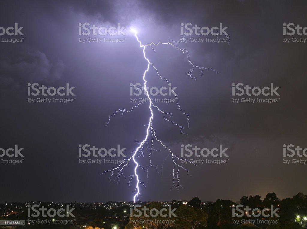 Lightning strikes suburbia royalty-free stock photo