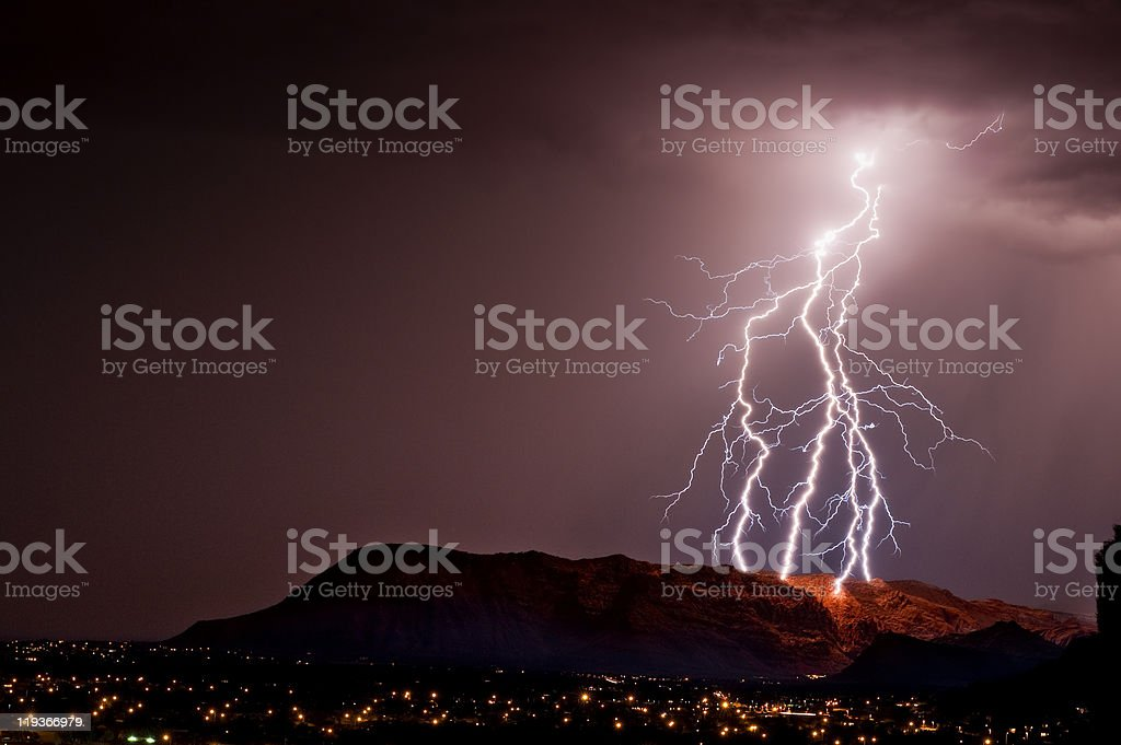 Lightning Strikes the Mountain royalty-free stock photo