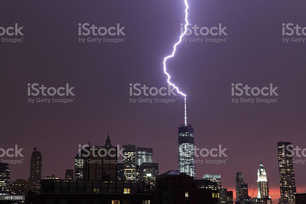 Lightning strikes the World Trade Center NYC stock photo