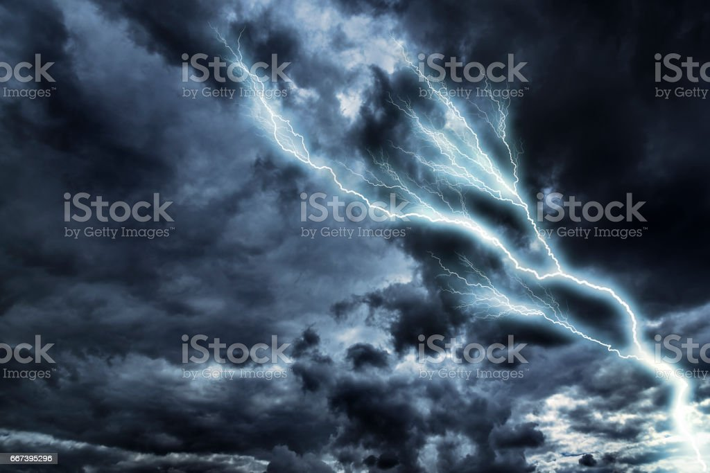 Lightning with dramatic clouds. stock photo