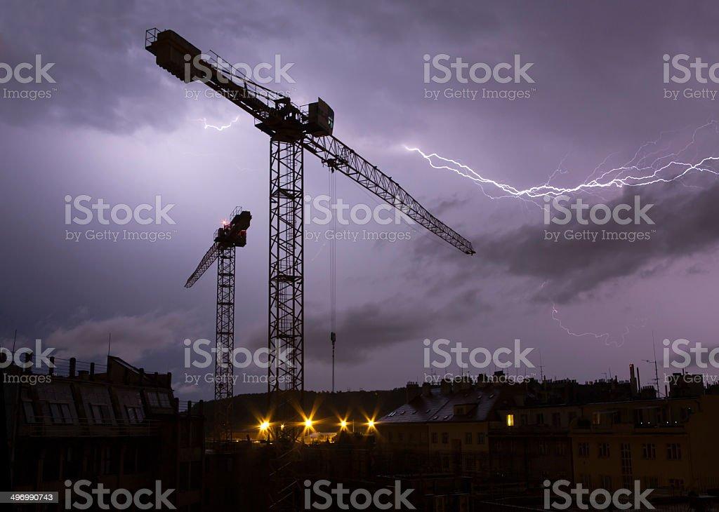 lightnings above city stock photo