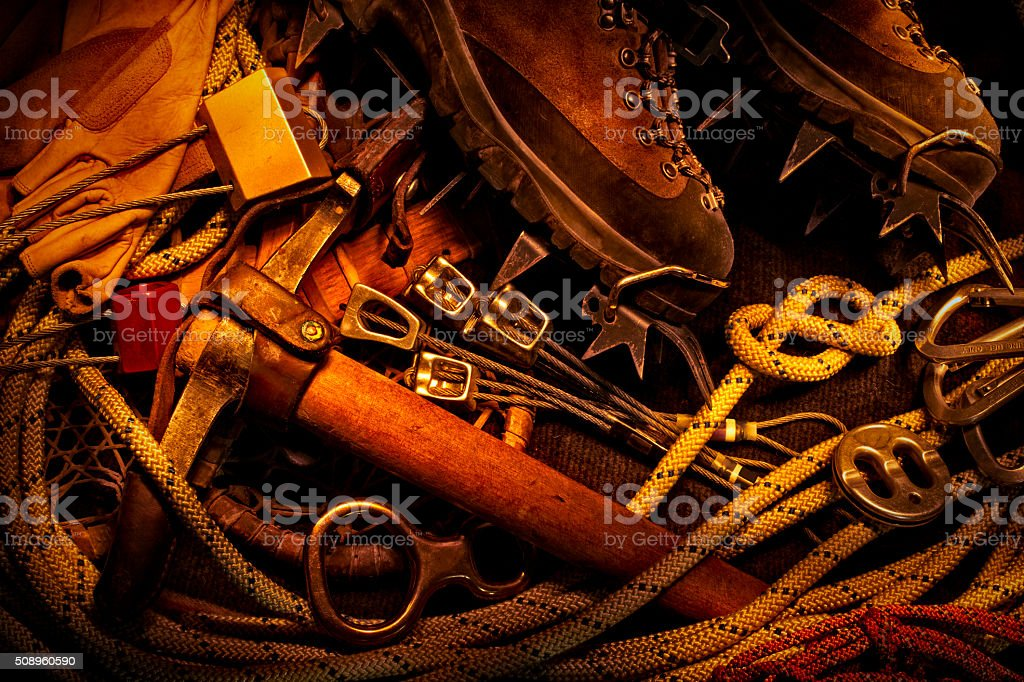Lightpainting of Antique and Modern Rock Climbing Gear stock photo