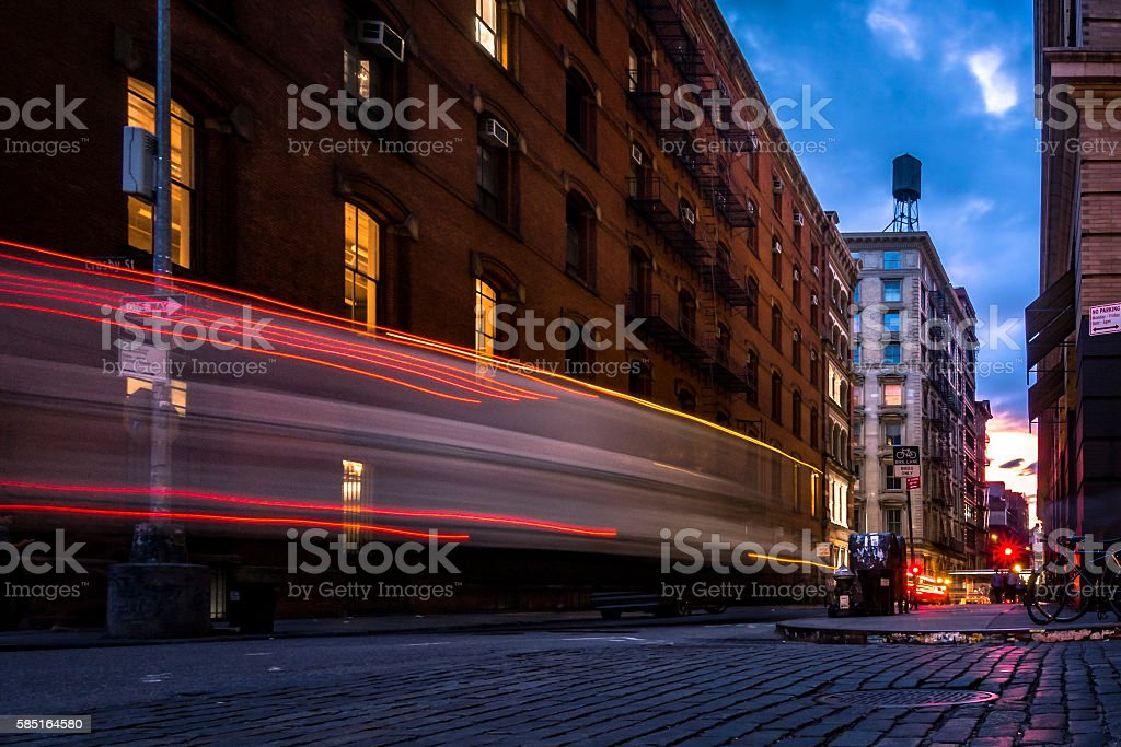 Lightrail on a quiet street in lower Manhattan, NYC stock photo