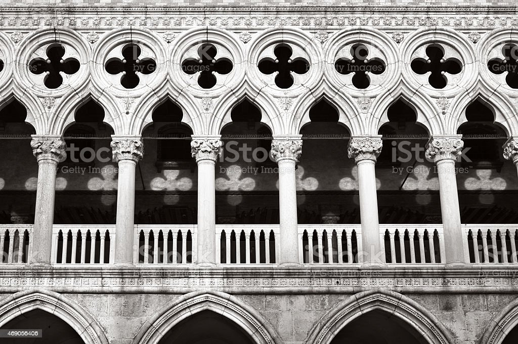 Lights and Shadows on Doge's palace, Venice - detail stock photo