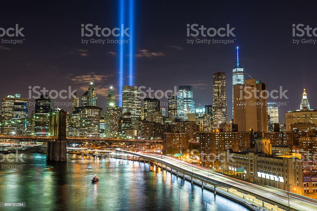 9/11 Lights and Westside Highway stock photo