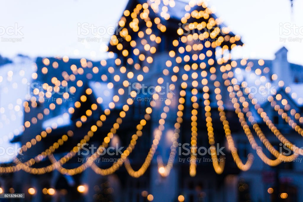 Lights at Dusk Out of Focus Bokeh stock photo