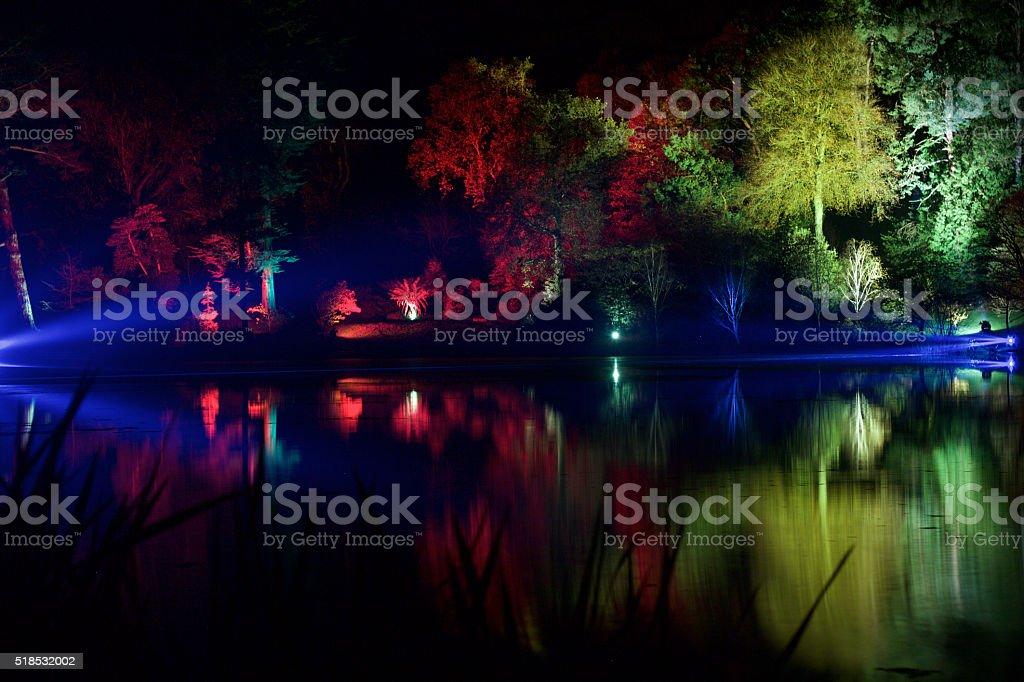 Lights at Mountstewart across the lake stock photo