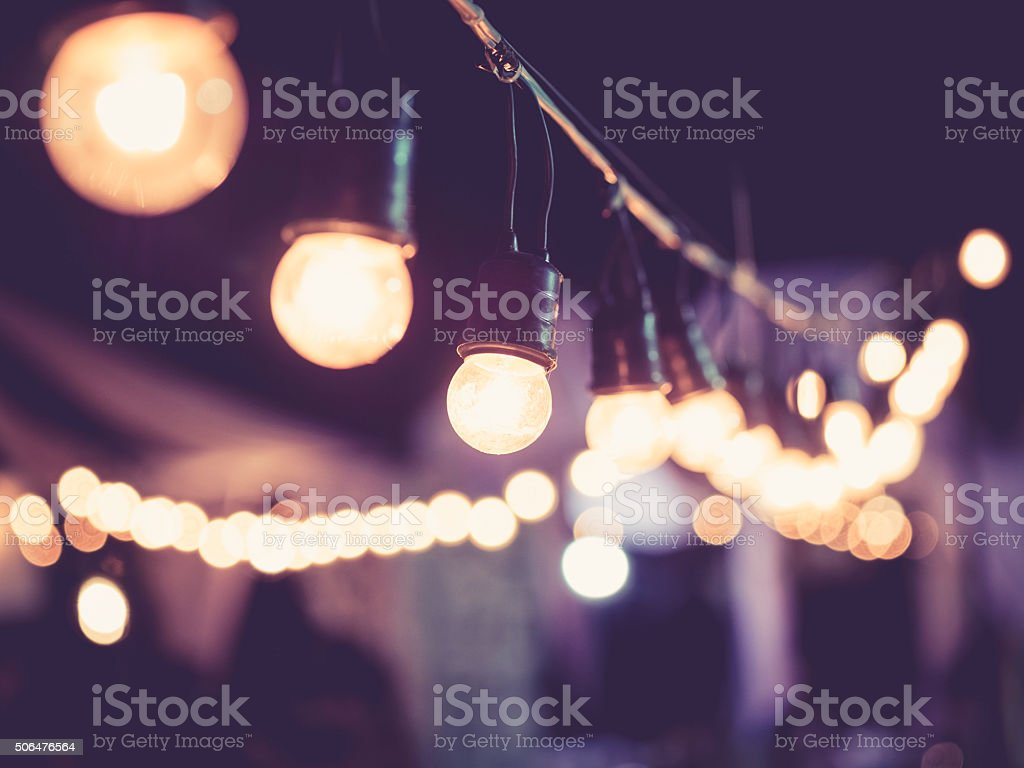 Lights decoration Event Festival outdoor Vintage tone stock photo