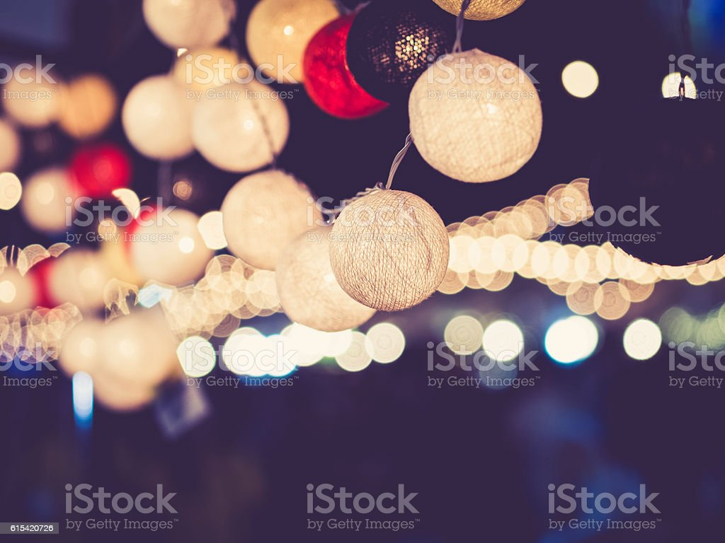 Lights decoration Party Event Festival outdoor bokeh stock photo