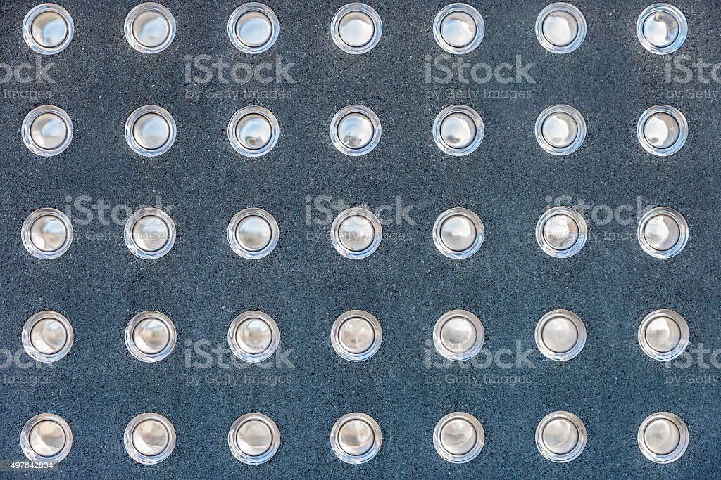 Lights embedded in a wall stock photo