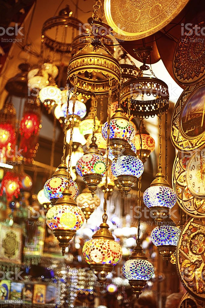 Lights for sale in a bazaar royalty-free stock photo