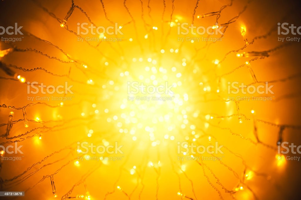 Lights Garland, Abstract Blurred Led Light, Yellow Lighting Perspective, Defocused stock photo