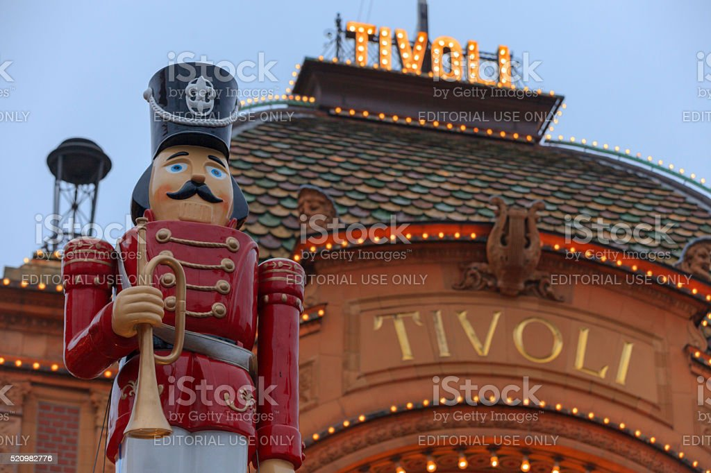 lights illuminate the main entrance to Tivoli Gardens stock photo