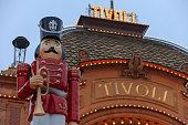 lights illuminate the main entrance to Tivoli Gardens