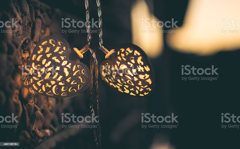 Lights in Shape of a Heart, Christmas Lights stock photo