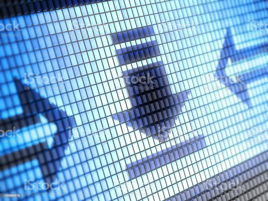 LED lights making up arrows pointing to a download symbol royalty-free stock photo