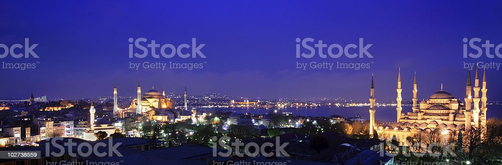 Lights of Istanbul cityscape at night royalty-free stock photo
