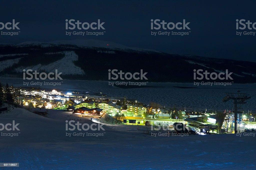 lights of ski resort at night royalty-free stock photo