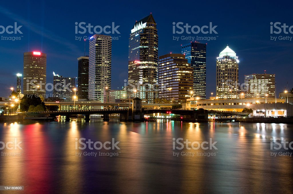 Lights of Tampa stock photo