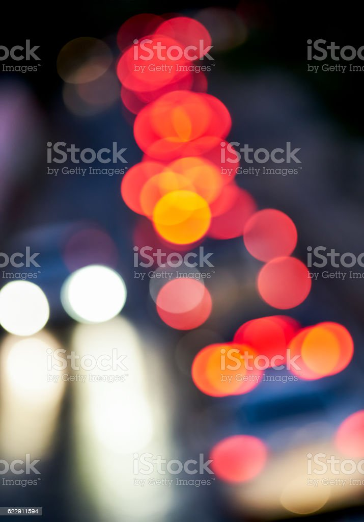 lights of the headlamps in the night stock photo