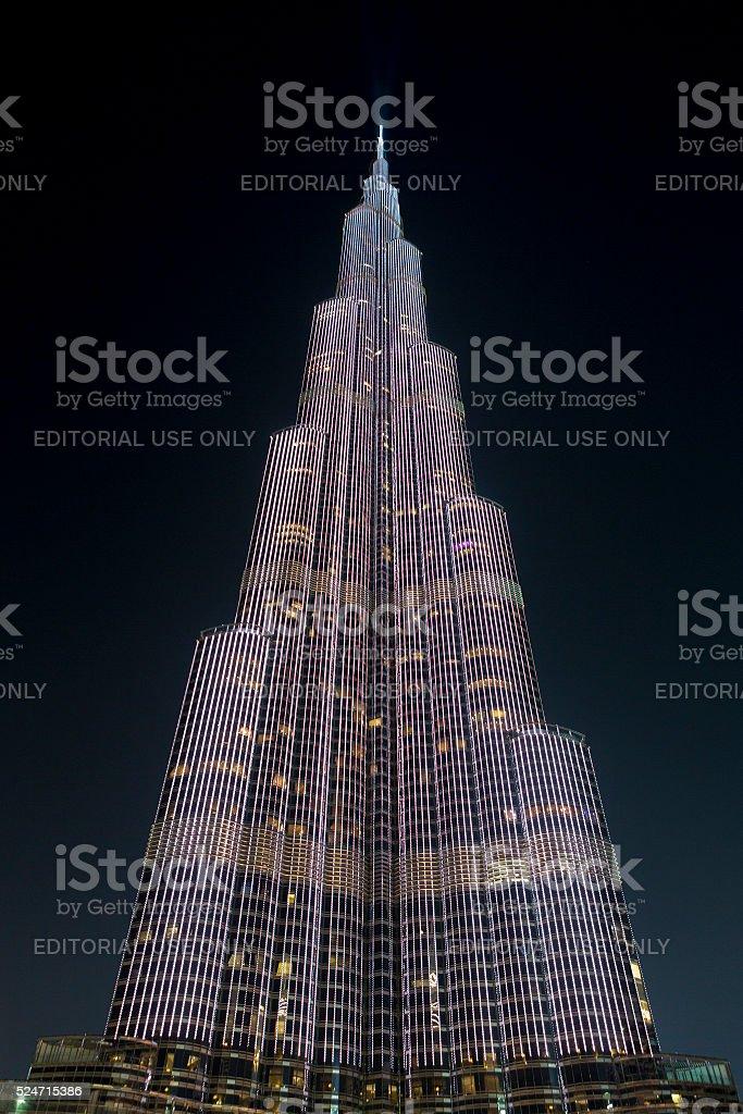 Lights on Burj Khalifa at night in Dubai stock photo