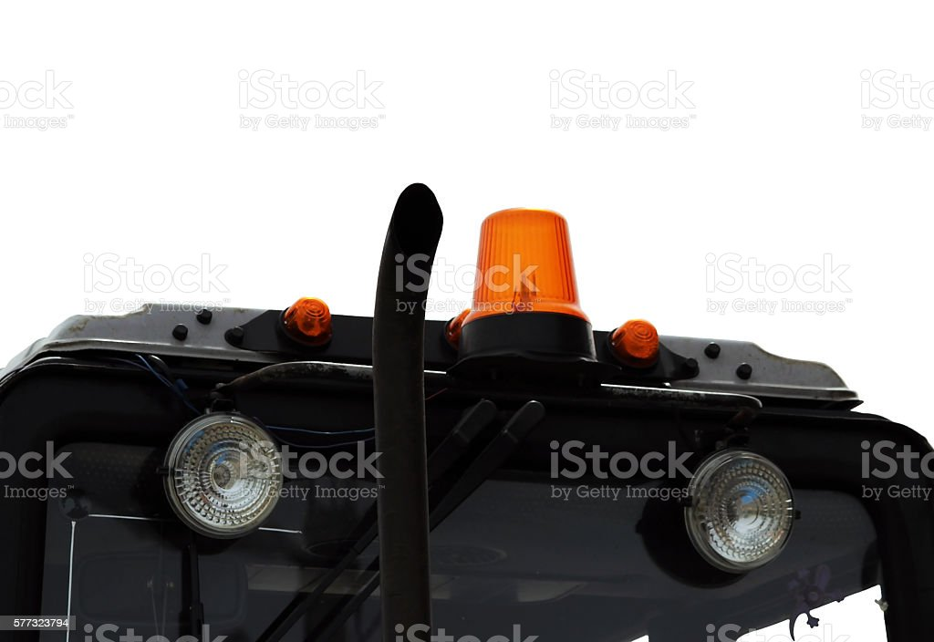 lights on the tractor roof to the  in the Gatchina stock photo