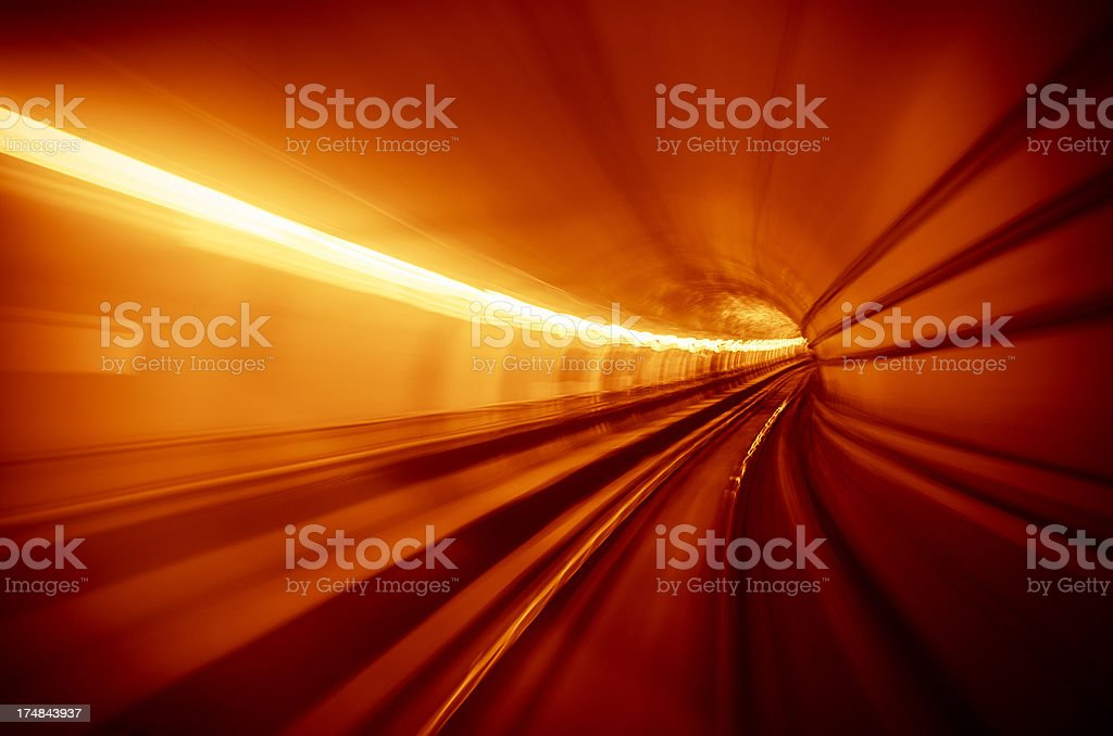 Lights on the tunnel - motion blur effects royalty-free stock photo