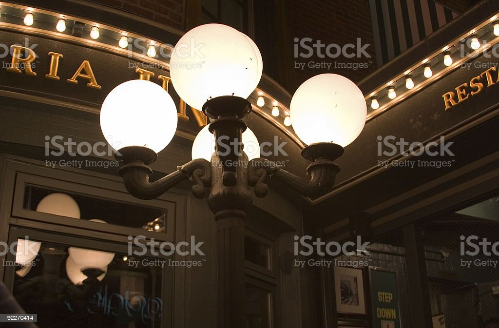 Lights outside a restaurant royalty-free stock photo
