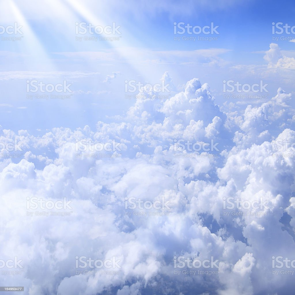 lights over clouds stock photo