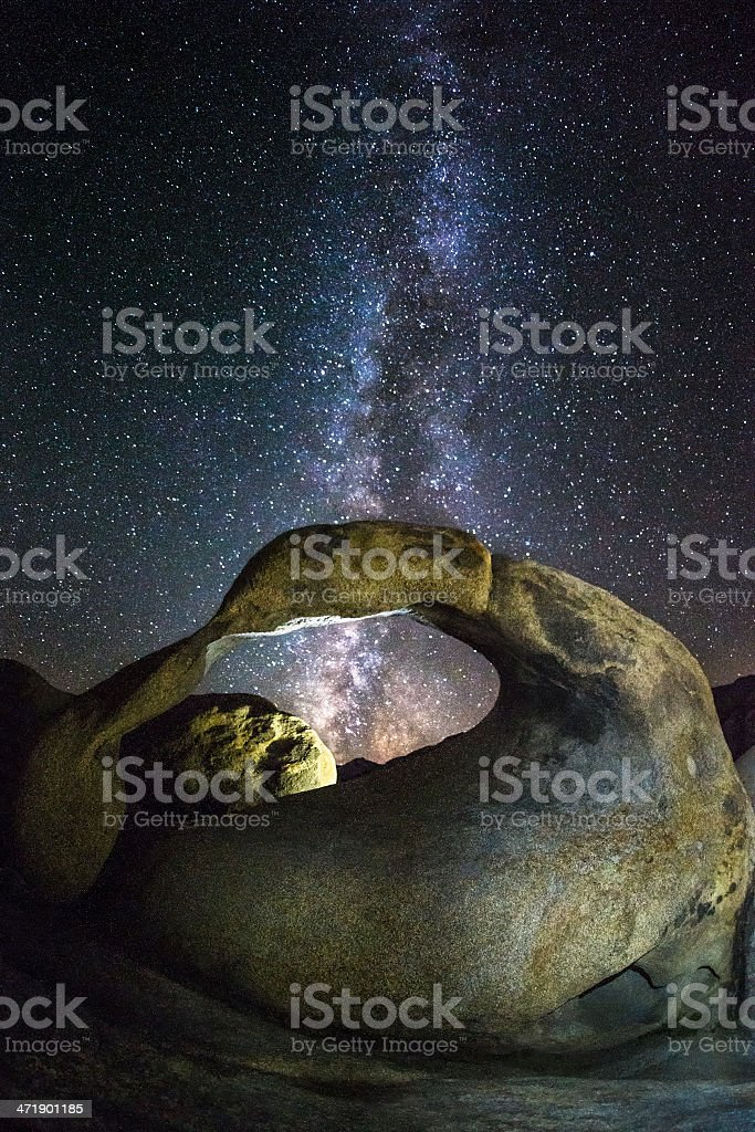 Lights over Mobius Arch stock photo