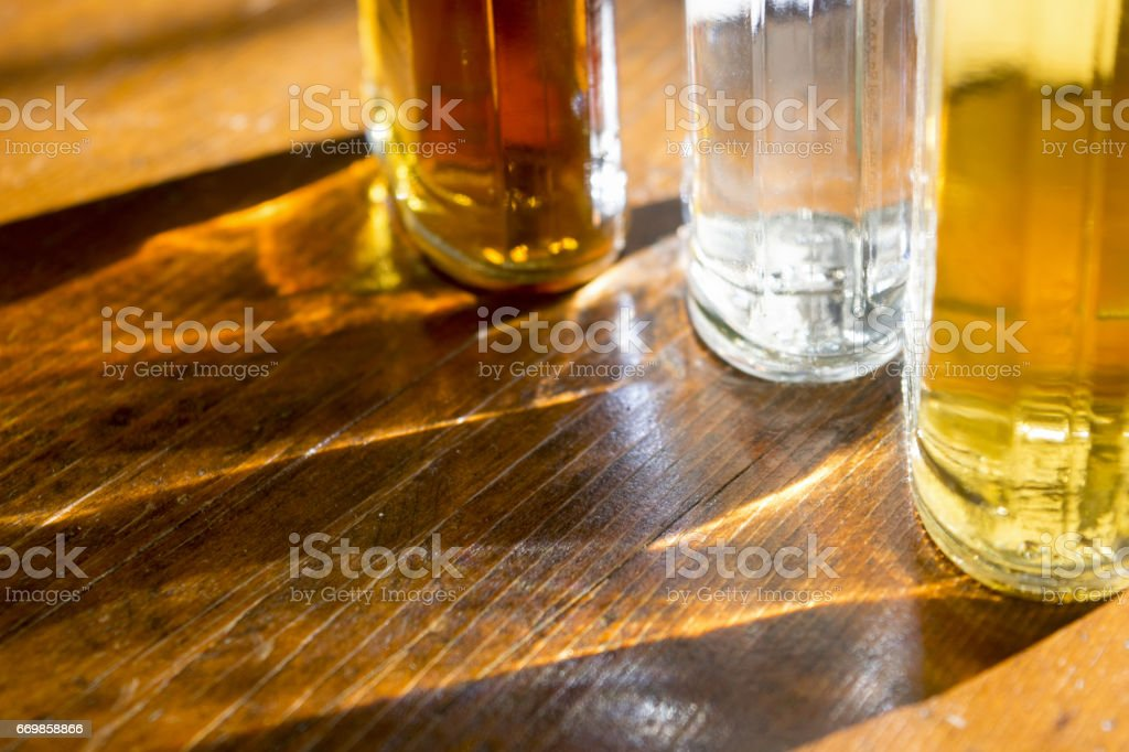 lights rays and glares through glasses stock photo