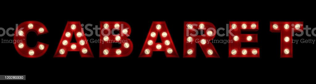Lights spelling out cabaret in red stock photo