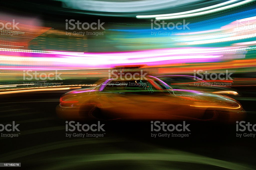 Lights, Taxi, Action royalty-free stock photo