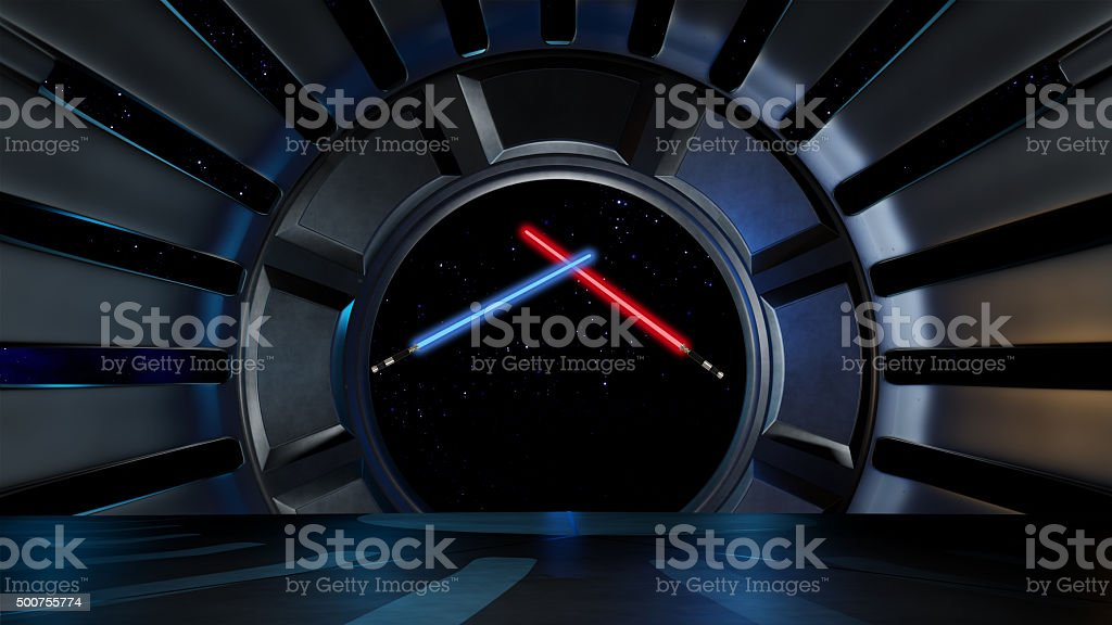 Lightsaber in space environment, ready for comp of your characters. stock photo