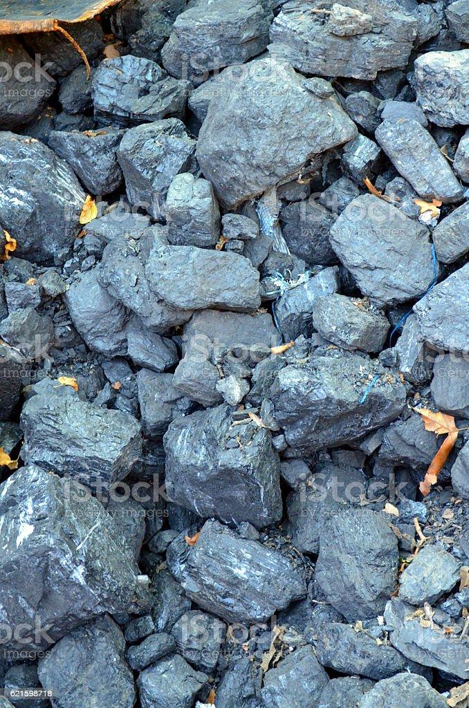 Lignite coal mineral black cube stone background stock photo