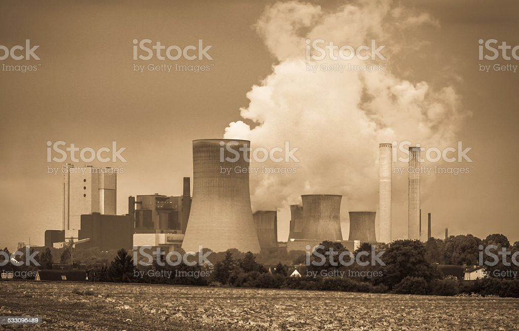 Lignite power plant stock photo