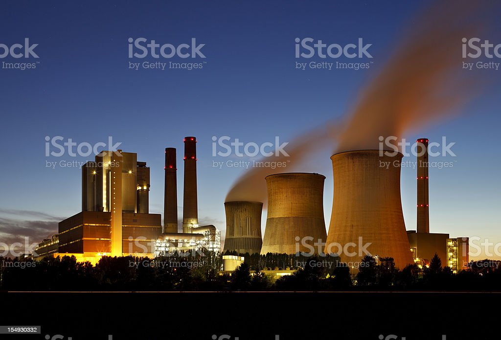 Lignite Power Station At Night stock photo