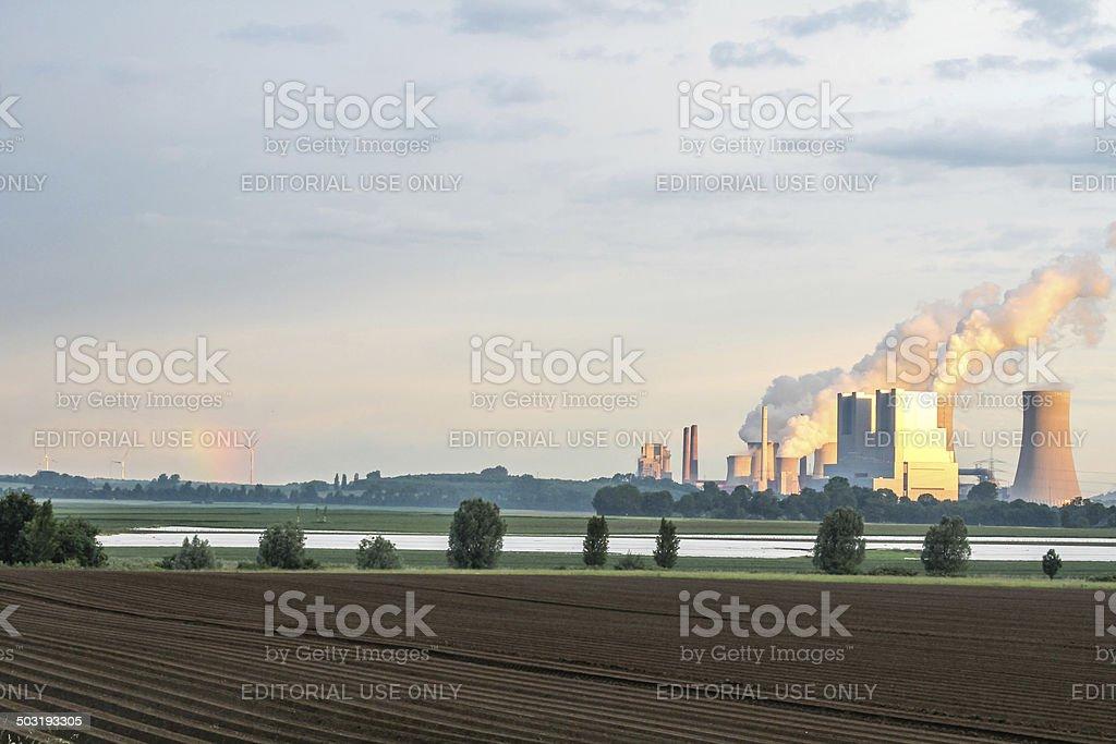 Lignite power station at sunrise stock photo