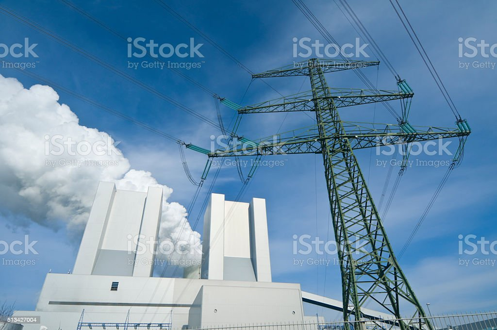 Lignite-fired power plant for electricity production stock photo